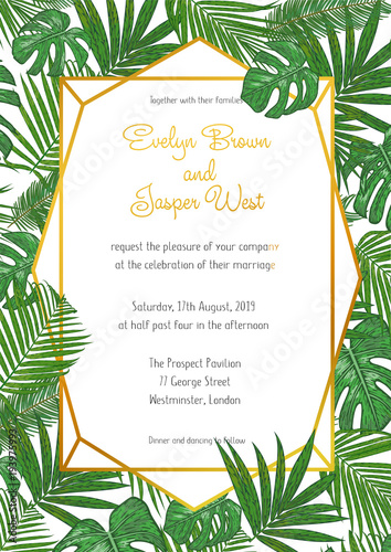 Fototapeta Vector Pattern Invitation Card With Green Tropical Palm Leaves In A Design Geometric Gold Frame Vertical Composition Watercolor