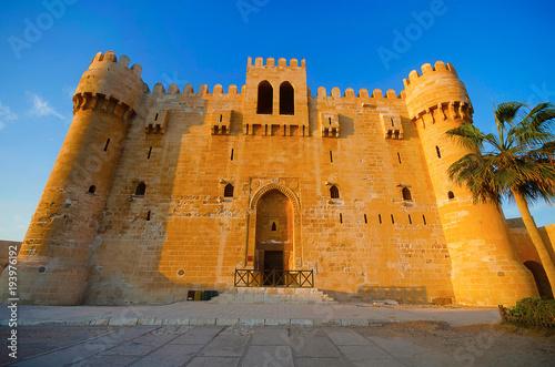 Vászonkép Front view of The Citadel of Qaitbay (Qaitbay Fort), Is a 15th century defensive