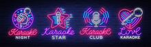 Karaoke Set Of Neon Signs. Col...