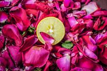 Close Up Of Fresh Sliced Lemon...