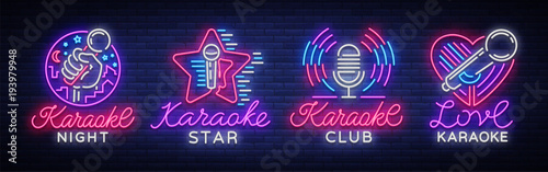 Obraz Karaoke set of neon signs. Collection is a light logo, a symbol, a light banner. Advertising bright night karaoke bar, party, disco bar, night club. Live music. Design template. Vector illustration - fototapety do salonu
