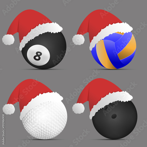 Christmas Sports Background.Santa Hat With Volleyball Ball Billiards Ball Golf Ball