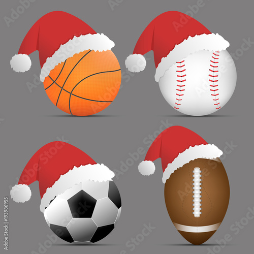Christmas Sports Background.Santa Hat With Basketball And Football Or Soccer And Rugby
