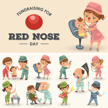 Set Red Nose Day Greeting Card...