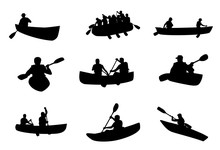 Kayaking And Rafting Silhouettes