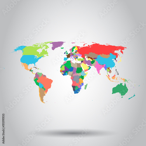 World map colorful political icon business concept world map world map colorful political icon business concept world map pictogram vector illustration on white gumiabroncs Gallery