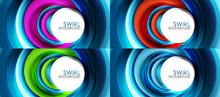 Set Of Spiral Swirl Line Backg...