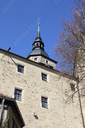 Plakat Zamek obronny przed błękitne niebo