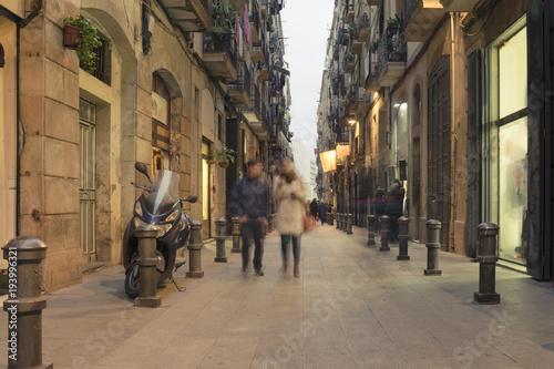 Streets of barcelona at night Wallpaper Mural