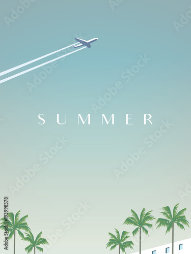 Lato podróżujących wektor plakat szablon z samolotu lecącego nad palmami.