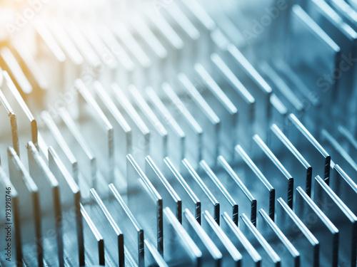 Fotografía  Metallic heatsink close up