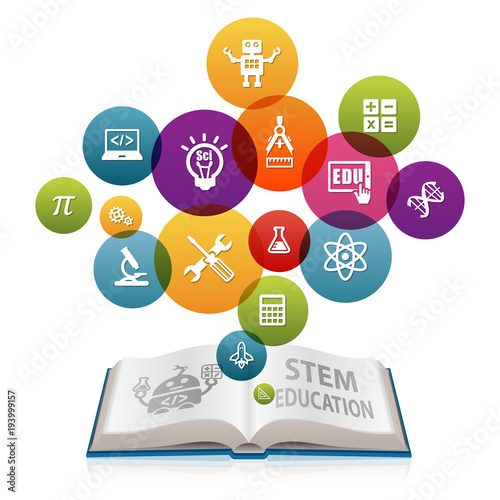 Science Technology Engineering And Math Education For: STEM Education Concept With Open Book. Science Technology