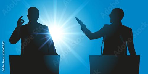 Canvas Print débat - discours - débattre - meeting - micro - leadership - politicien - électi