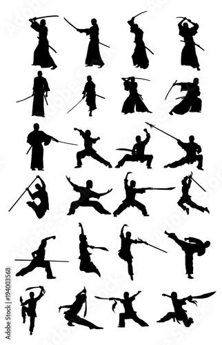 Photo  Samurai And Wushu Silhouettes