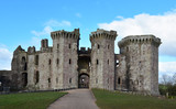 Raglan Castle in Monmouthshire Wales with it's imposing towers