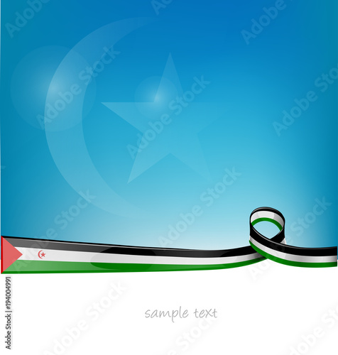 Fotografia  western sahara ribbon flag on blue sky background