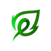 Letter E Leaf Logo Vector