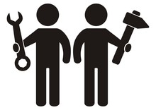 Two Figures With Tool, Hammer And Wrench, Black Silhouette Of Men, Vector Icon