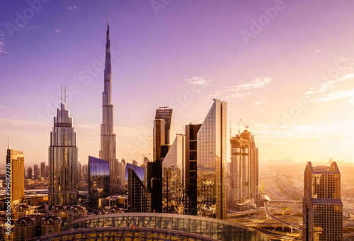 Stickers pour portes Dubai Dubai downtown skyline
