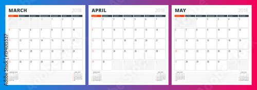 Fototapeta Calendar planner template for spring 2018. March, April, May. Design print vector template obraz na płótnie