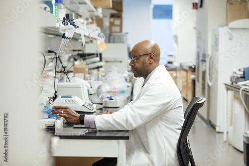 Medical researcher working in laboratory at hospital