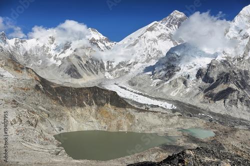 Plakat Szczyty Changtse i Everest z Kalapattar, 5545m