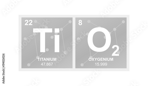 Fototapeta Vector symbol of titanium dioxide which is called titanium white on the backgrou