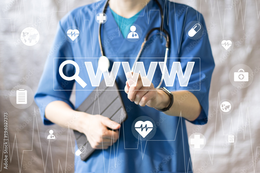 Fototapeta Doctor pushing button search magnifier loupe www healthcare network on virtual panel medicine.