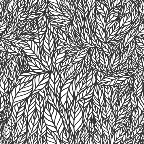 Fototapety, obrazy: seamless pattern - linear doodle leaves