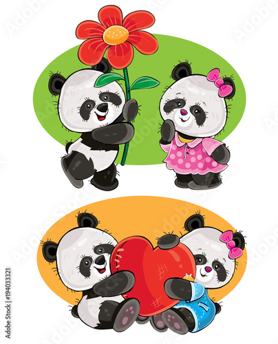 Recess Fitting Ladybugs Vector cartoon set with a couple of panda bears in love, with soft red heart and with flower isolated on background. Cute animal characters, clipart for greeting cards, stickers, prints for t-shirt