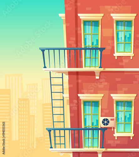 Vector Cartoon Illustration Of House Facade Element Multistoried Building City Apartments Outside View Red Brick Wall Dwelling With Windows