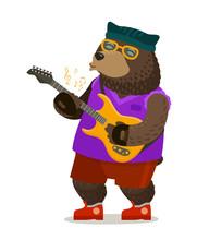 Bear Playing Electric Guitar. ...