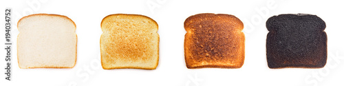Fényképezés A Collage of Different Levels of Darkness when it comes to Toast - What's your p