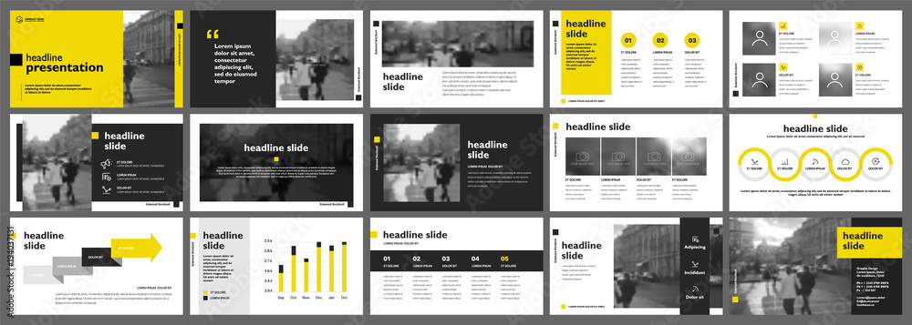 Fototapeta Yellow presentation templates elements on a white background. Vector infographics. Use in Presentation, flyer and leaflet, corporate report, marketing, advertising, annual report, banner.