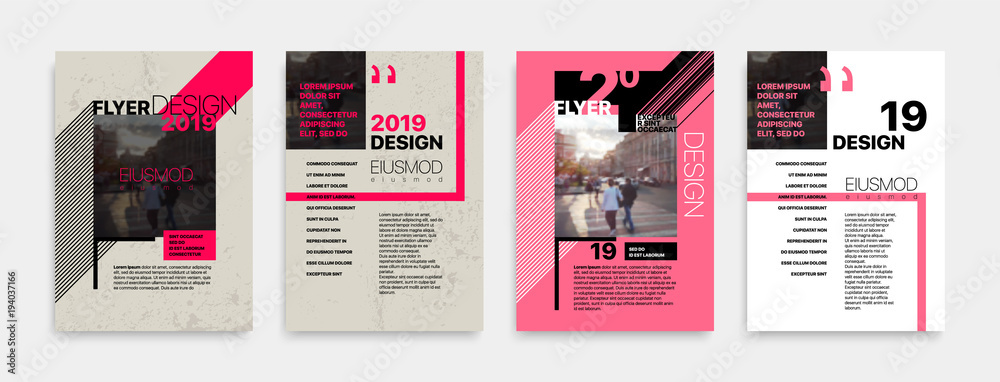 Fototapety, obrazy: Covers templates set with bauhaus style graphic geometric elements. Applicable for flyer, cover annual report, placards, brochures, posters, banners. Vector illustrations.