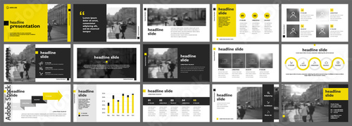 Fototapeta Yellow presentation templates elements on a white background. Vector infographics. Use in Presentation, flyer and leaflet, corporate report, marketing, advertising, annual report, banner. obraz