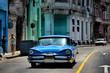 Classic Blue car in the Streets of Havana, Cuba