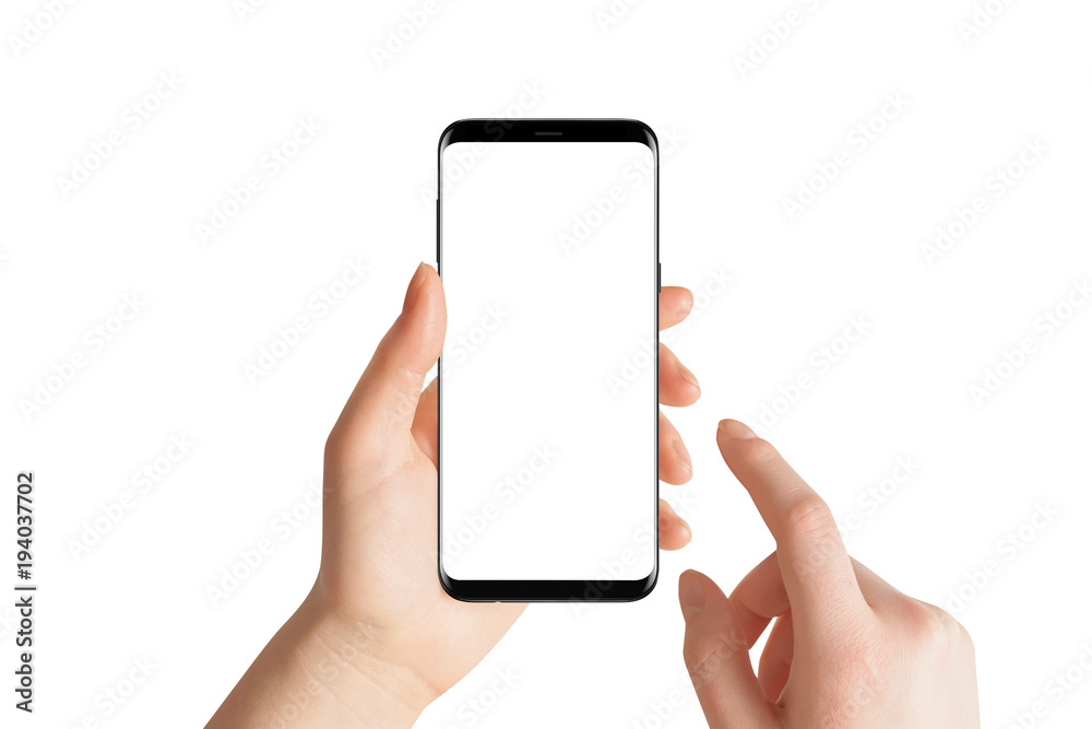 Fototapeta Isolated hands and smartphone on white background. Female hand holding modern black phone in vertical position.