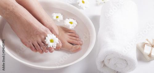 Spoed Foto op Canvas Pedicure Foot spa on white background