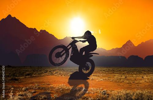 Motorbike trial rider Fototapeta