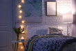 canvas print picture - Cozy room interior with comfortable bed. Modern house design