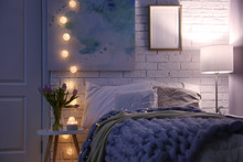 Cozy Room Interior With Comfortable Bed. Modern House Design