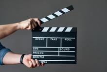 A Movie Production Clapper Boa...