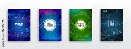 Abstract Technology Brochure Templates High Tech Cover Design