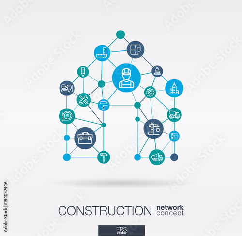 Construction integrated thin line web icons in home shape ... on graphic design construction company, graphic design home repair, clip art home construction, project management home construction, portfolio construction, graphic design home office furniture, prefab home construction, infographic home construction, glass home construction,