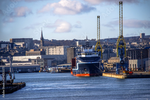 Harbour in Aberdeen, Scotland, United Kingdom. February 2018 Canvas Print