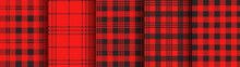 Set Of Red Plaid And Gingham S...