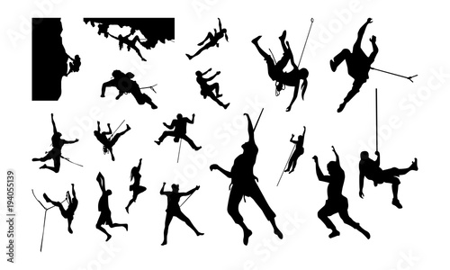 Set of Climber Silhouette vector illustration Fototapeta