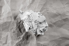 Crumpled White Paper Ball With...
