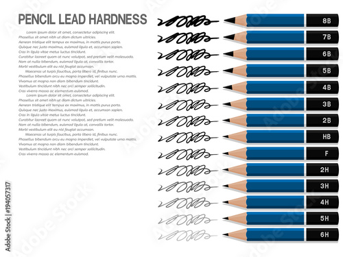 set of drawing pencil and line of each lead hardness on transparent